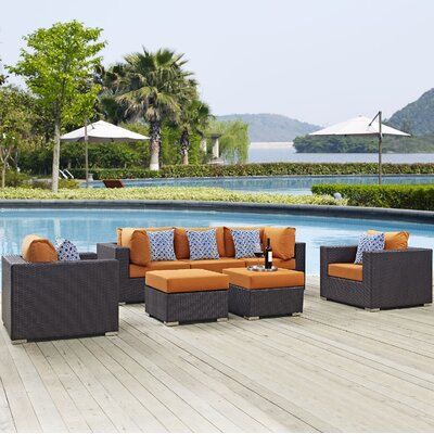 Ryele Contemporary 7 Piece Deep Seating Group Fabric: Orange