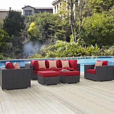 Ryele Contemporary 7 Piece Deep Seating Group Fabric: Red