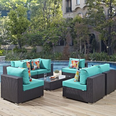 Ryele 7 Piece Deep Seating Group Fabric: Turquoise