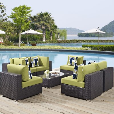 Ryele 7 Piece Deep Seating Group Fabric: Peridot