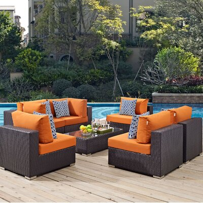Ryele 7 Piece Deep Seating Group Fabric: Orange