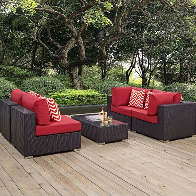Ryele 5 Piece Metal Frame Deep Seating Group Fabric: Red