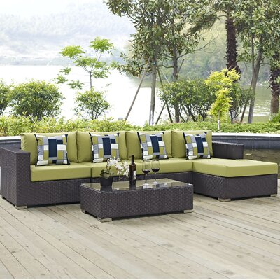 Ryele 5 Piece Deep Seating Group Fabric: Peridot