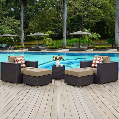 Ryele Contemporary 5 Piece Deep Seating Group Fabric: Mocha