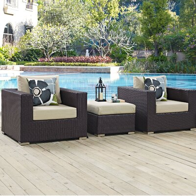 Ryele 3 Piece Metal Frame Deep Seating Group Fabric: Beige