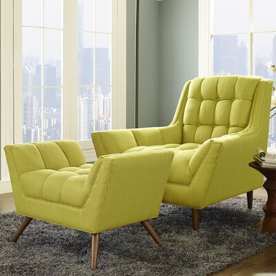 Freeborn Armchair with Ottoman Color: Wheatgrass