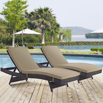 Ryele Chaise Lounge with Cushion Fabric: Espresso Mocha