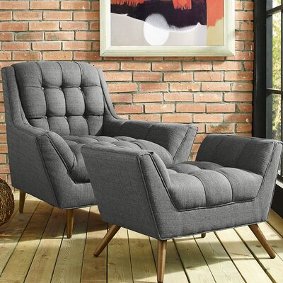 Freeborn Armchair with Ottoman Color: Dark Gray