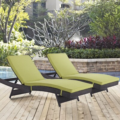 Ryele Chaise Lounge with Cushion Fabric: Espresso Peridot
