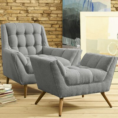 Freeborn Armchair with Ottoman Color: Light Gray