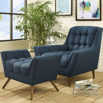 Freeborn Armchair with Ottoman Color: Azure