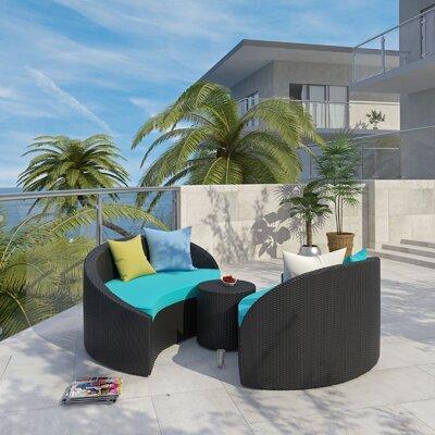 Magatama 3 Piece Lounge Seating Group with Cushion Fabric: Turquoise