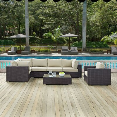 Ryele Outdoor 7 Piece Patio Seating Group with Cushions Fabric: Beige