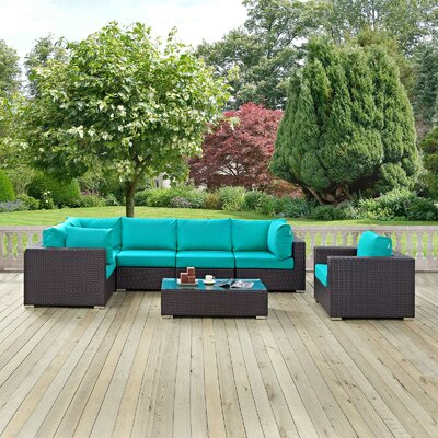 Ryele Outdoor 7 Piece Patio Seating Group with Sunbrella Cushions Fabric: Turquoise
