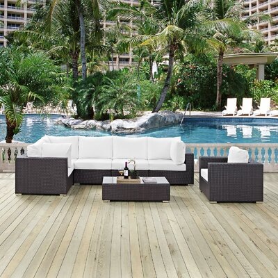 Ryele Outdoor 7 Piece Patio Seating Group with Cushions Fabric: White