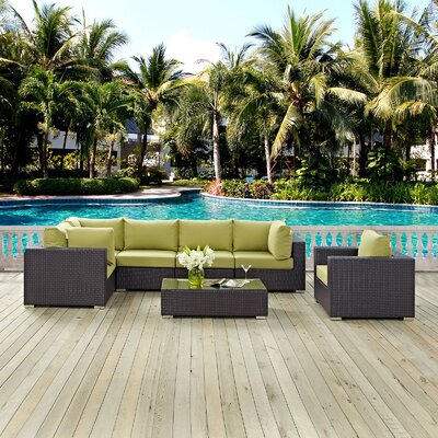 Ryele Outdoor 7 Piece Patio Seating Group with Cushions Fabric: Peridot