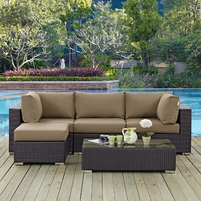 Ryele Contemporary 5 Piece Deep Seating Group with Cushion Fabric: Mocha