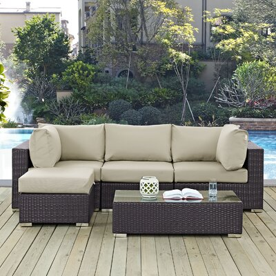 Convene 5 Piece Deep Seating Group with Cushion Fabric: Beige