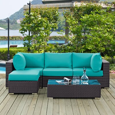 Ryele Contemporary 5 Piece Deep Seating Group with Cushion Fabric: Turquoise