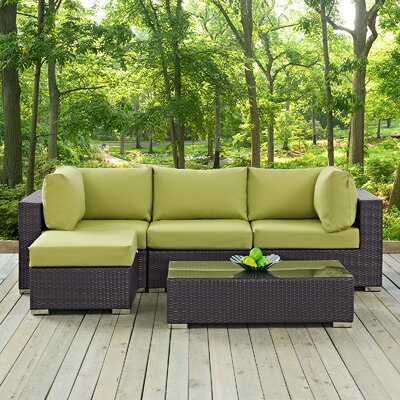 Convene 5 Piece Deep Seating Group with Cushion Fabric: Peridot