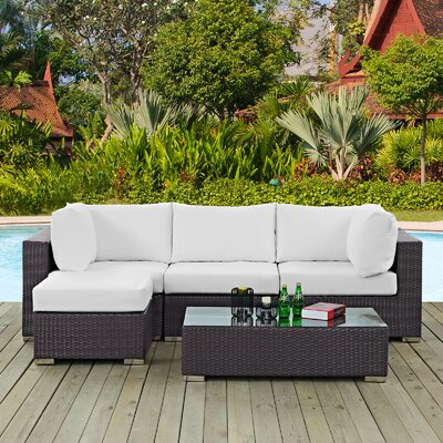Ryele Contemporary 5 Piece Deep Seating Group with Cushion Fabric: White