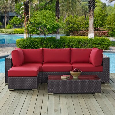 Ryele Contemporary 5 Piece Deep Seating Group with Cushion Fabric: Red
