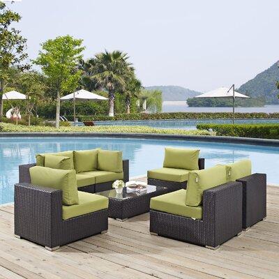 Ryele 7 Piece Deep Seating Group with Cushion Fabric: Peridot