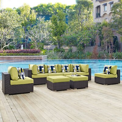 Ryele 8 Piece Deep Seating Group Fabric: Peridot