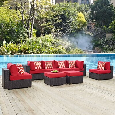 Convene 8 Piece Deep Seating Group Fabric: Red
