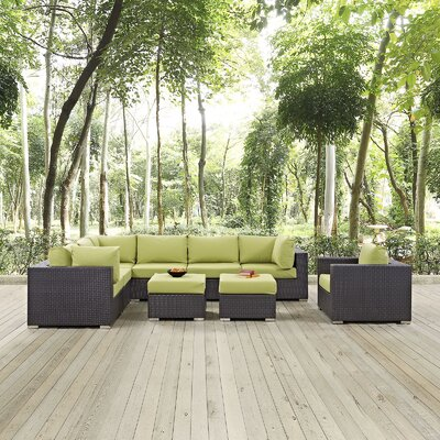 Ryele 9 Piece Outdoor Patio Sectional Set with Cushions Fabric: Espresso Peridot