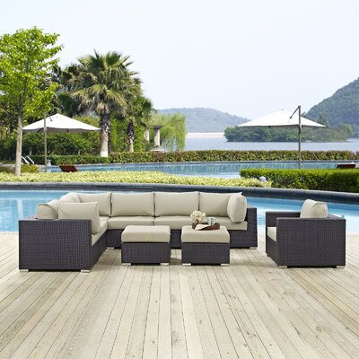 Ryele 9 Piece Outdoor Patio Sectional Set with Cushions Fabric: Espresso Beige