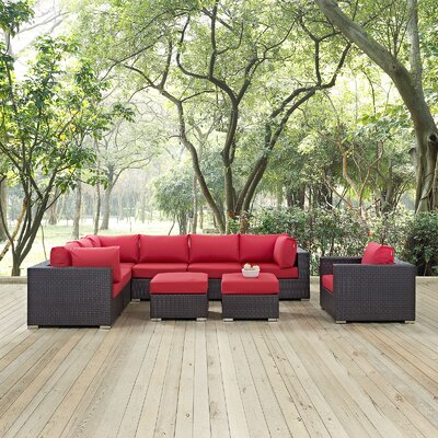Convene 9 Piece Outdoor Patio Sectional Set with Cushions Fabric: Espresso Red