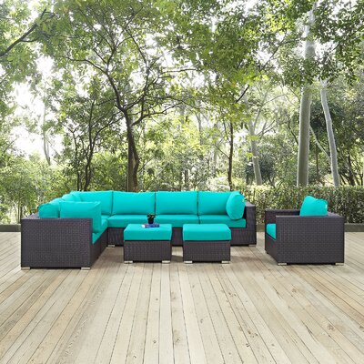 Ryele 9 Piece Outdoor Patio Sectional Set with Cushions Fabric: Espresso Turquoise