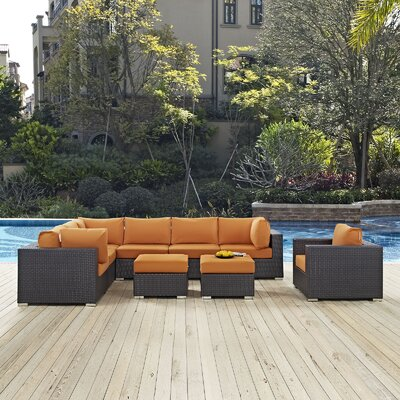Ryele 9 Piece Outdoor Patio Sectional Set with Cushions Fabric: Espresso Orange