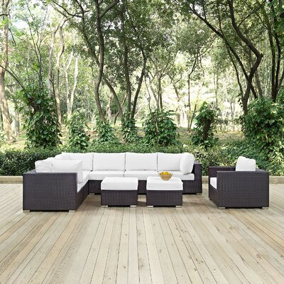 Ryele 9 Piece Outdoor Patio Sectional Set with Cushions Fabric: Espresso White