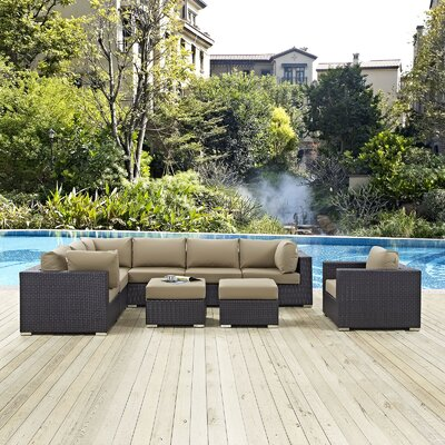 Ryele 9 Piece Outdoor Patio Sectional Set with Cushions Fabric: Espresso Mocha