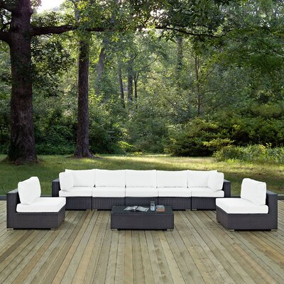 Ryele 8 Piece Outdoor Patio Sectional Set with Cushions Fabric: Espresso White