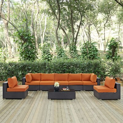 Ryele 8 Piece Outdoor Patio Sectional Set with Cushions Fabric: Espresso Orange