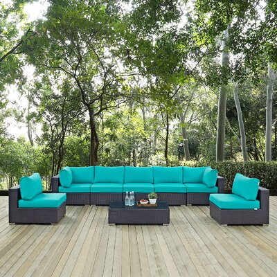 Ryele 8 Piece Outdoor Patio Sectional Set with Cushions Fabric: Espresso Turquoise