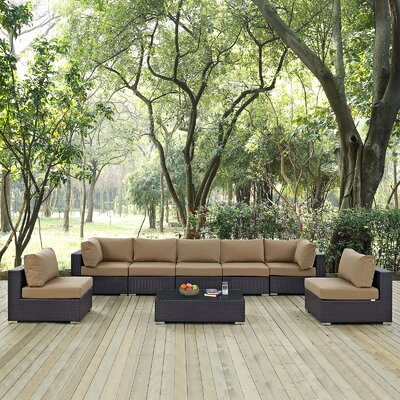 Ryele 8 Piece Outdoor Patio Sectional Set with Cushions Fabric: Espresso Mocha