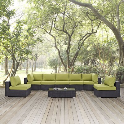 Ryele 8 Piece Outdoor Patio Sectional Set with Cushions Fabric: Espresso Peridot