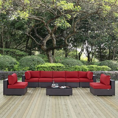 Ryele 8 Piece Outdoor Patio Sectional Set with Cushions Fabric: Espresso Red