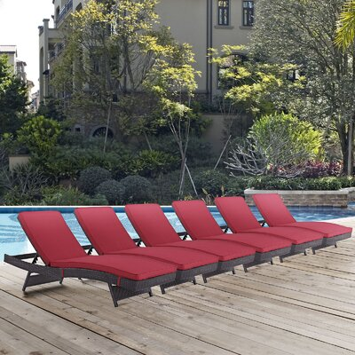 Convene Chaise Lounge with Cushion Fabric: Red
