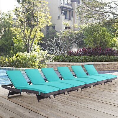 Convene Chaise Lounge with Cushion Fabric: Turquoise