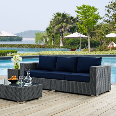 Sojourn Sofa with Cushions Fabric: Navy