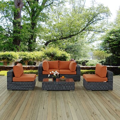 Summon 5 Piece Sectional Deep Seating Group with Cushion Fabric: Tuscan