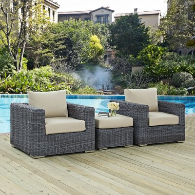 Summon 3 Piece Outdoor Patio Deep Seating Group with Cushion Fabric: Beige