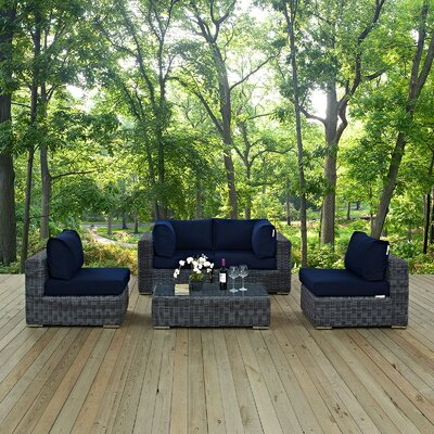 Summon 5 Piece Sectional Deep Seating Group with Cushion Fabric: Navy
