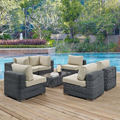 Summon 7 Piece Outdoor Patio Sectional Seating Group with Cushion Fabric: Beige