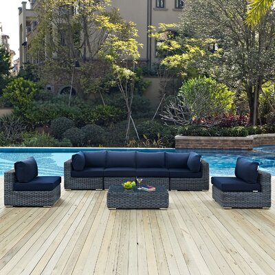 Summon 7 Piece Outdoor Patio Sectional Seating Group with Cushion Fabric: Navy